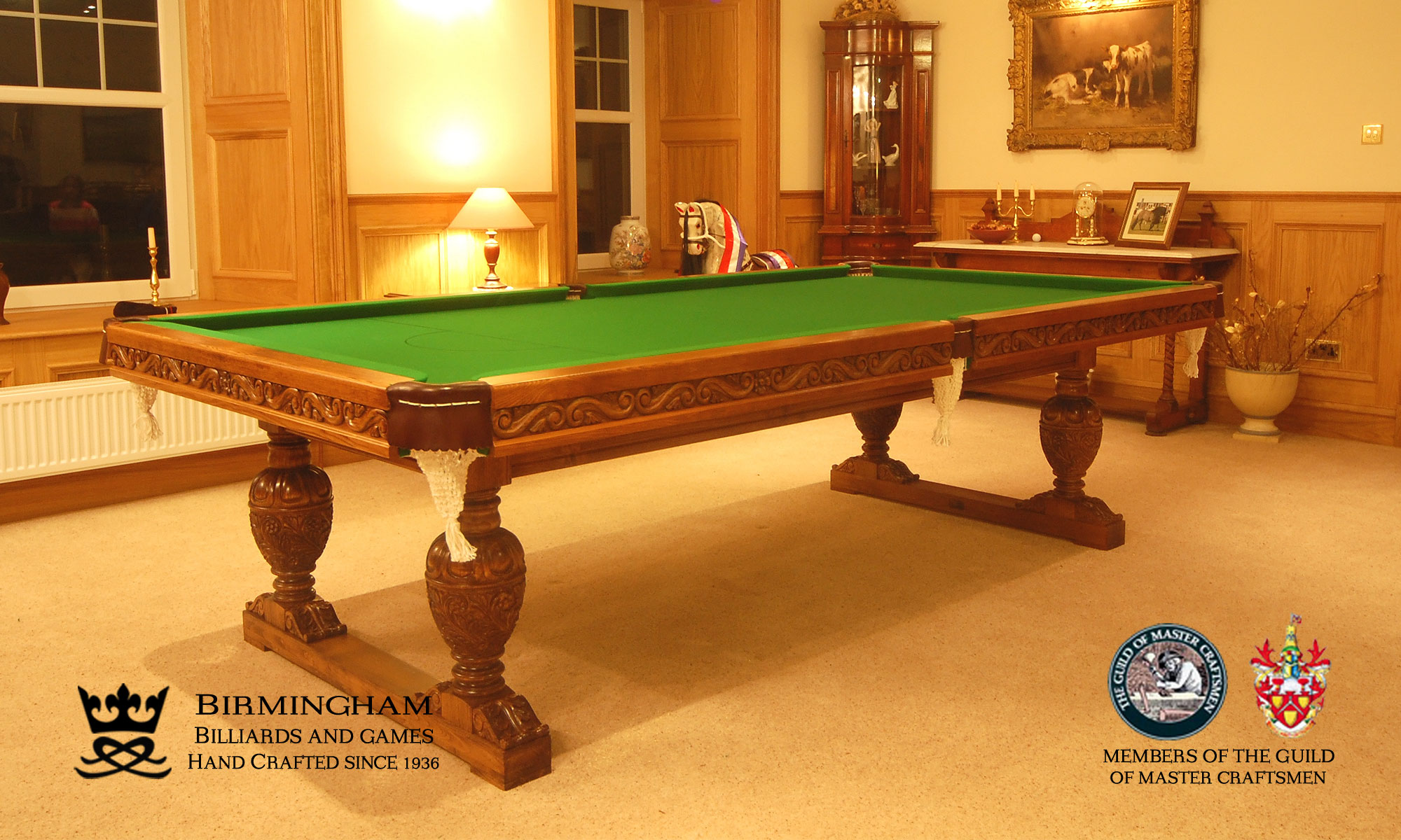 The Balmoral-hand carved pool table, championship green baize, side view