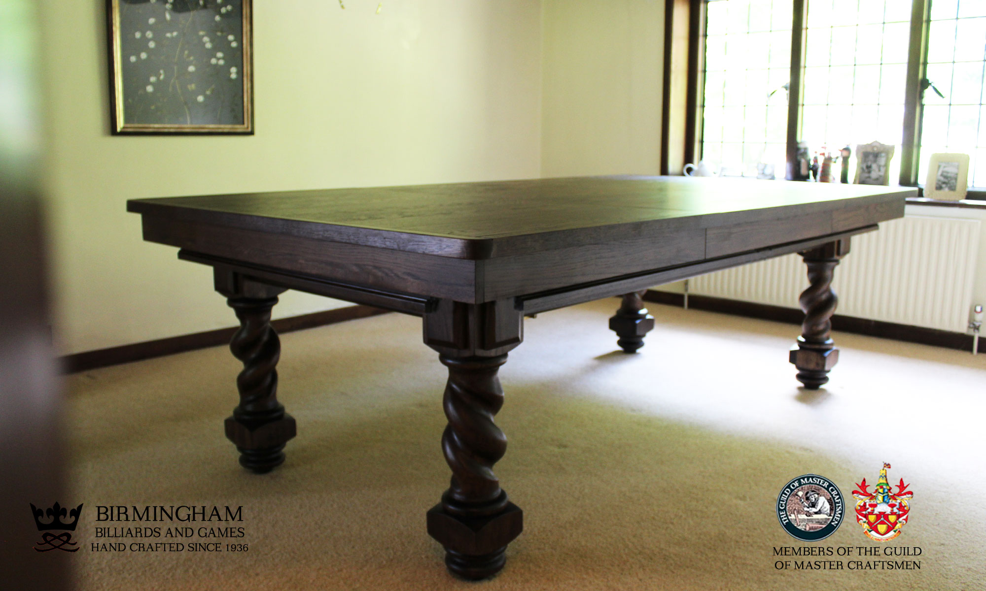 Barley twist snooker and pool dining table