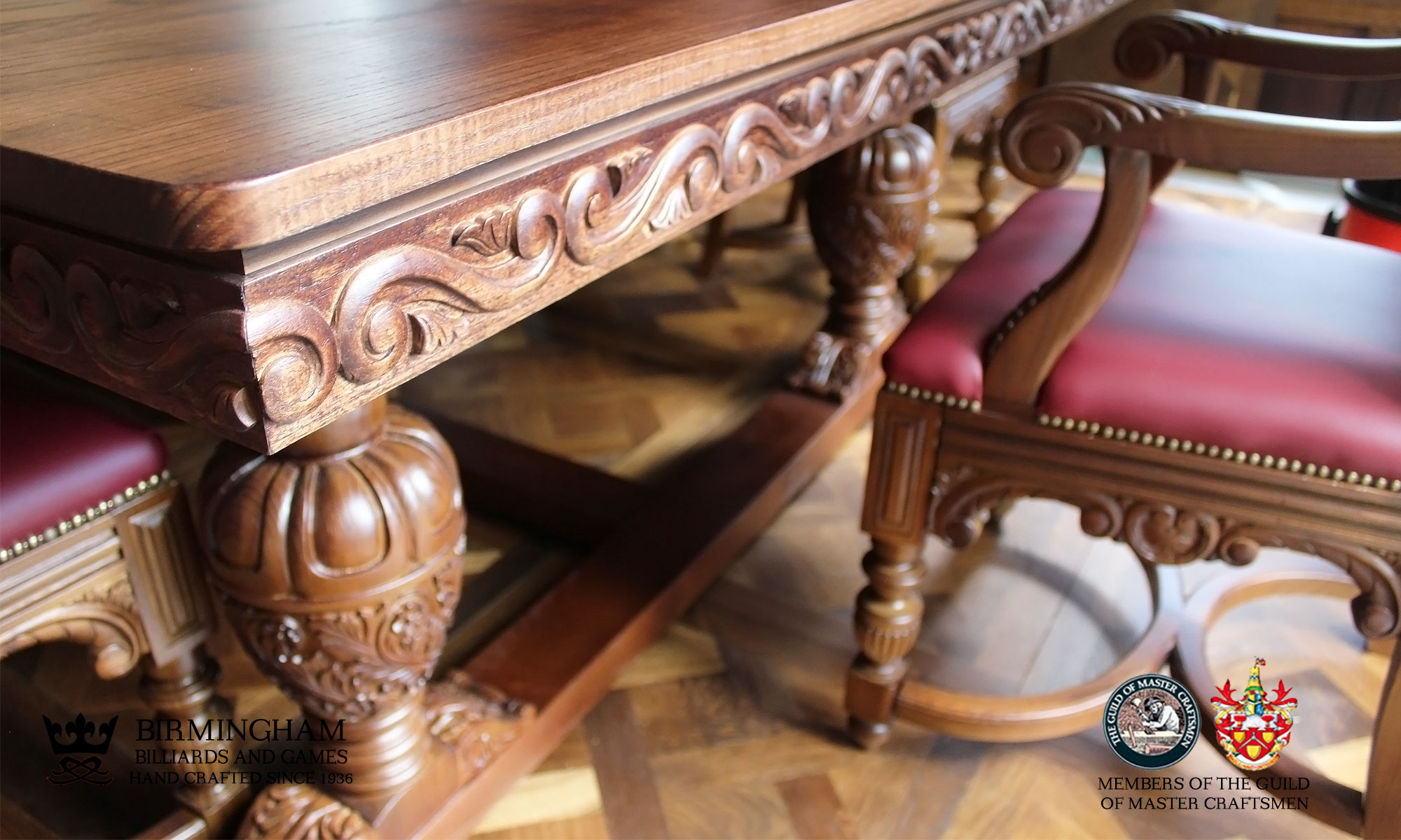 balmoral hand carved snooker and pool dining table
