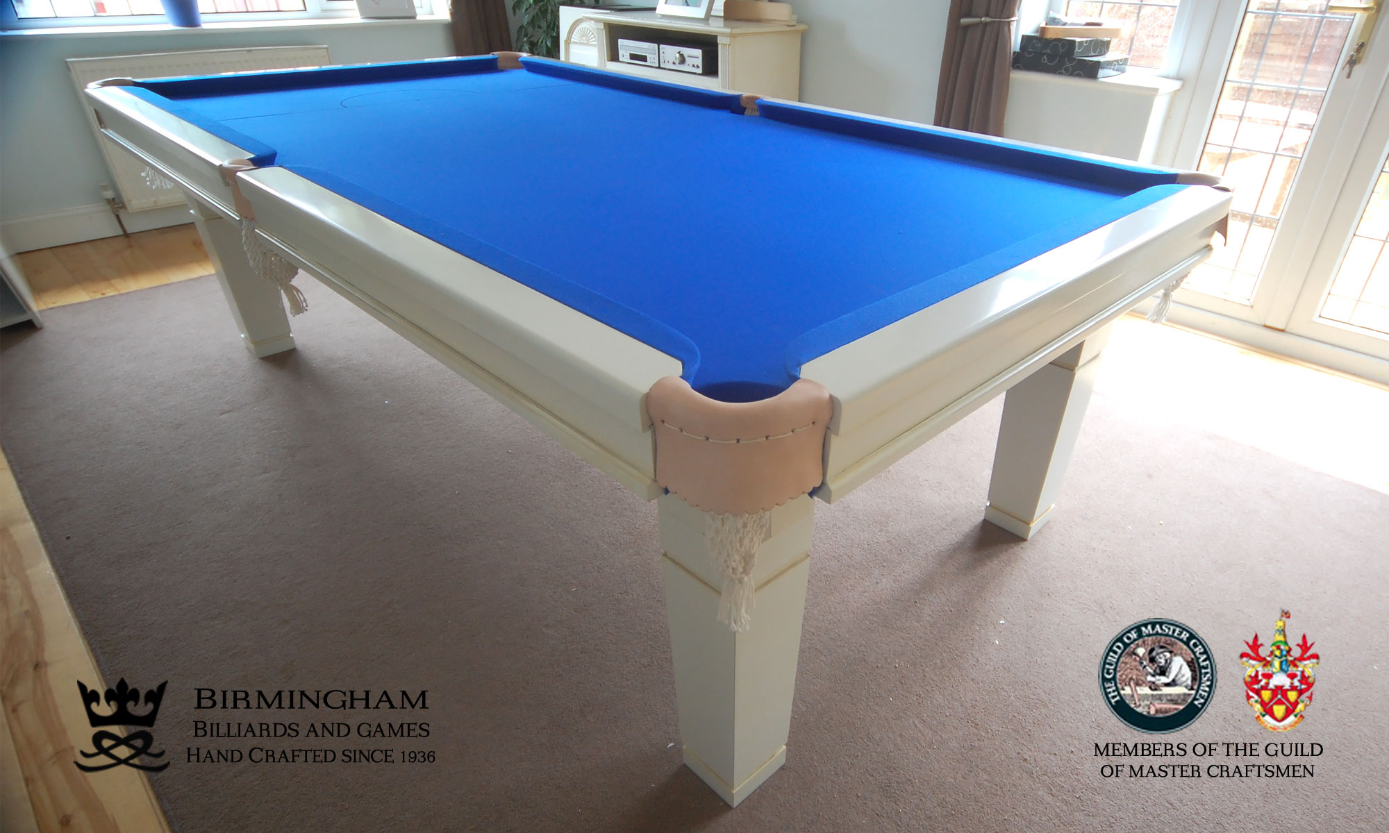 The Contemporary handmade pool table, gloss white finish, royal blue baize