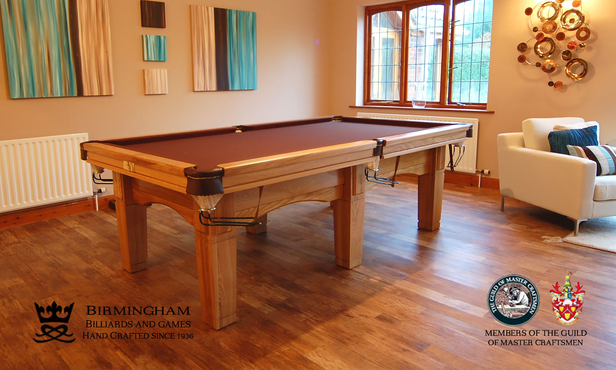 The Contemporary handmade pool table, light oak finish, tan baize