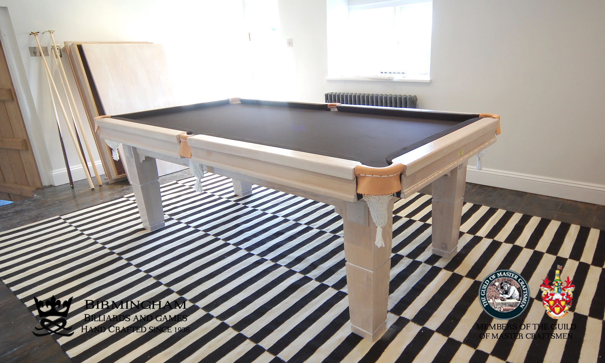 The Contemporary handmade pool table, limed oak finish, black baize