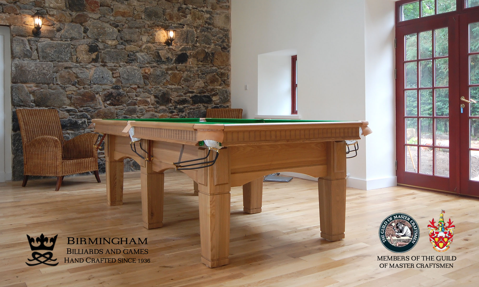 The Contemporary handmade pool table, olive green baize, end view