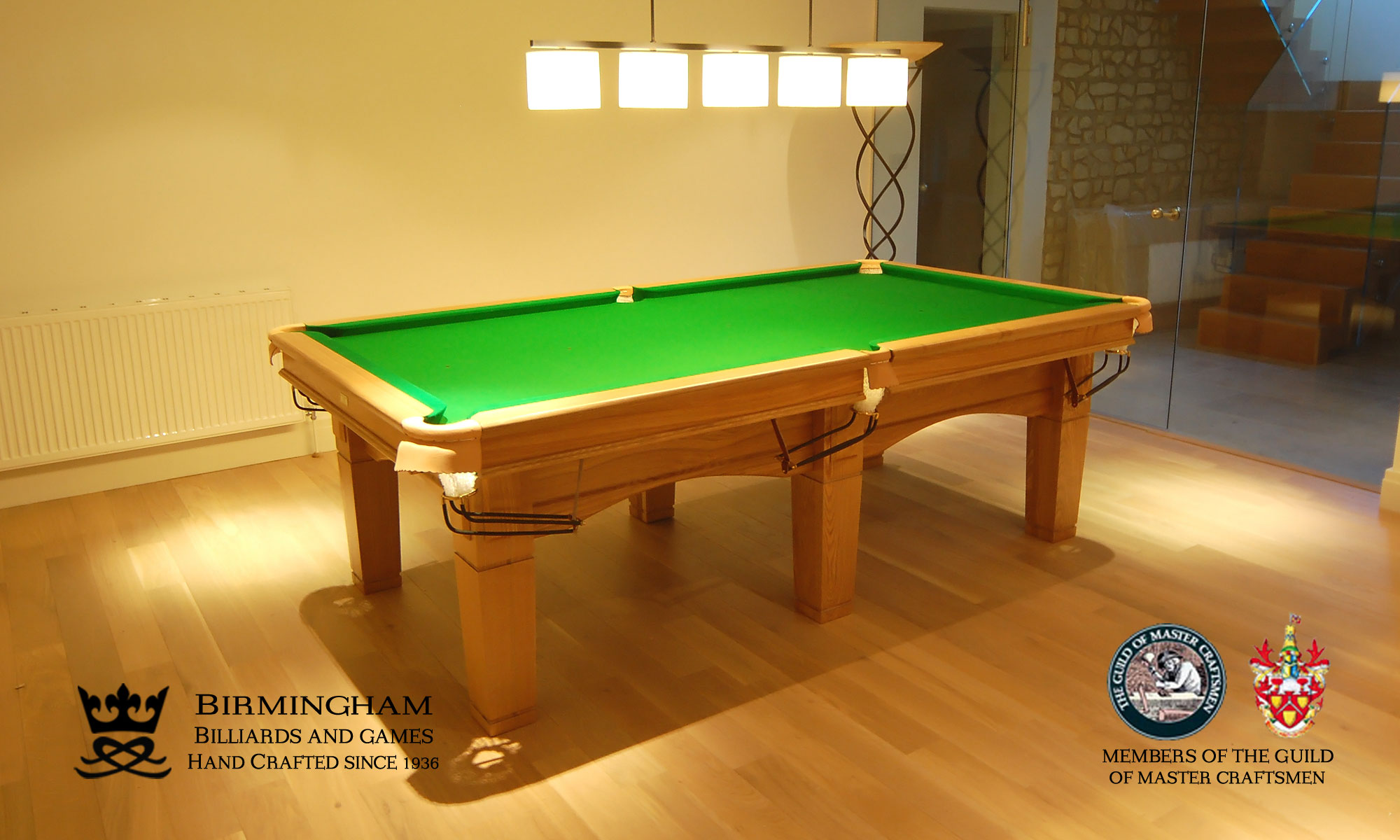 The Contemporary handmade pool table, olive green baize, side view