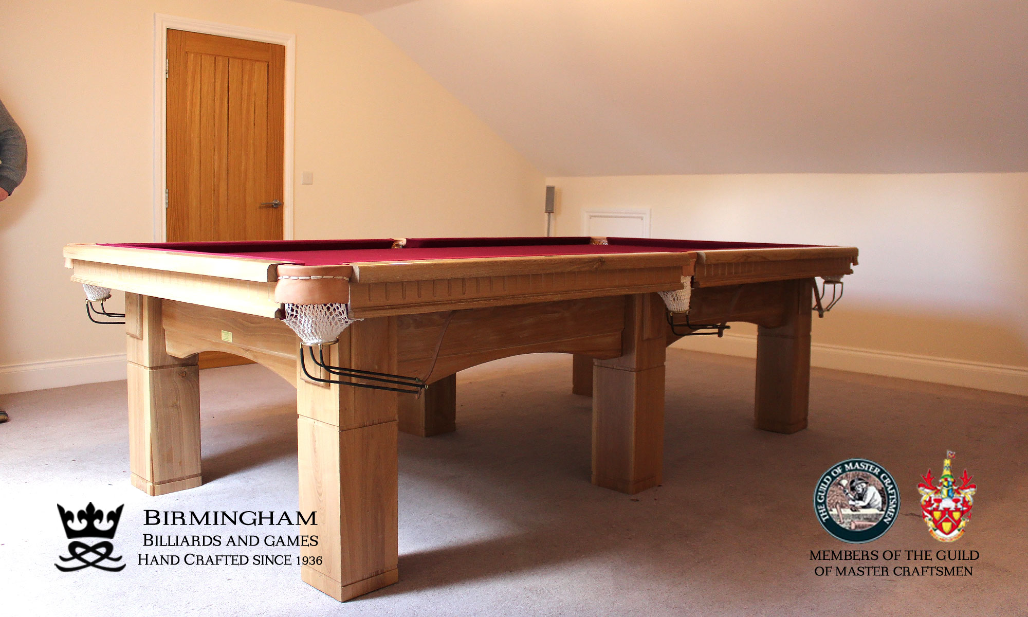 The Fender-Art Deco, handmade pool table,natural oak, red baize, side view