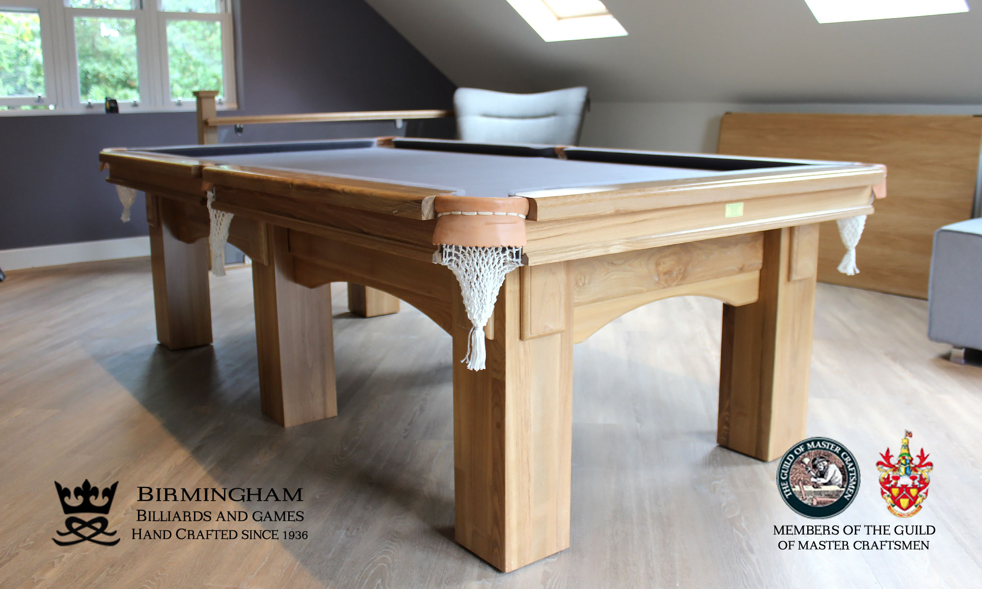The Fender-Art Deco, handmade pool table,natural oak, powder blue baize