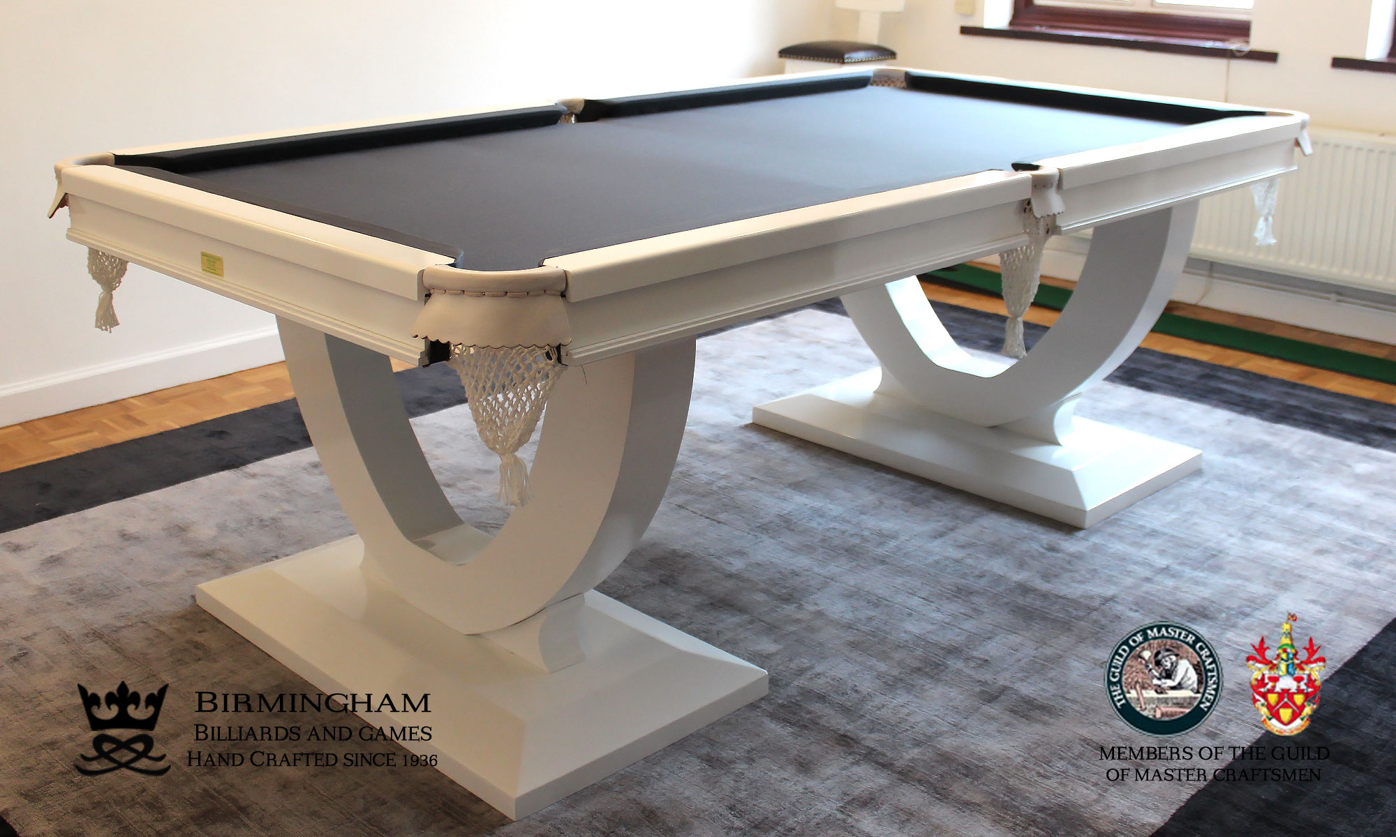 The Mayfair-Art Deco, Handmade pool table, white gloss finish, black baize