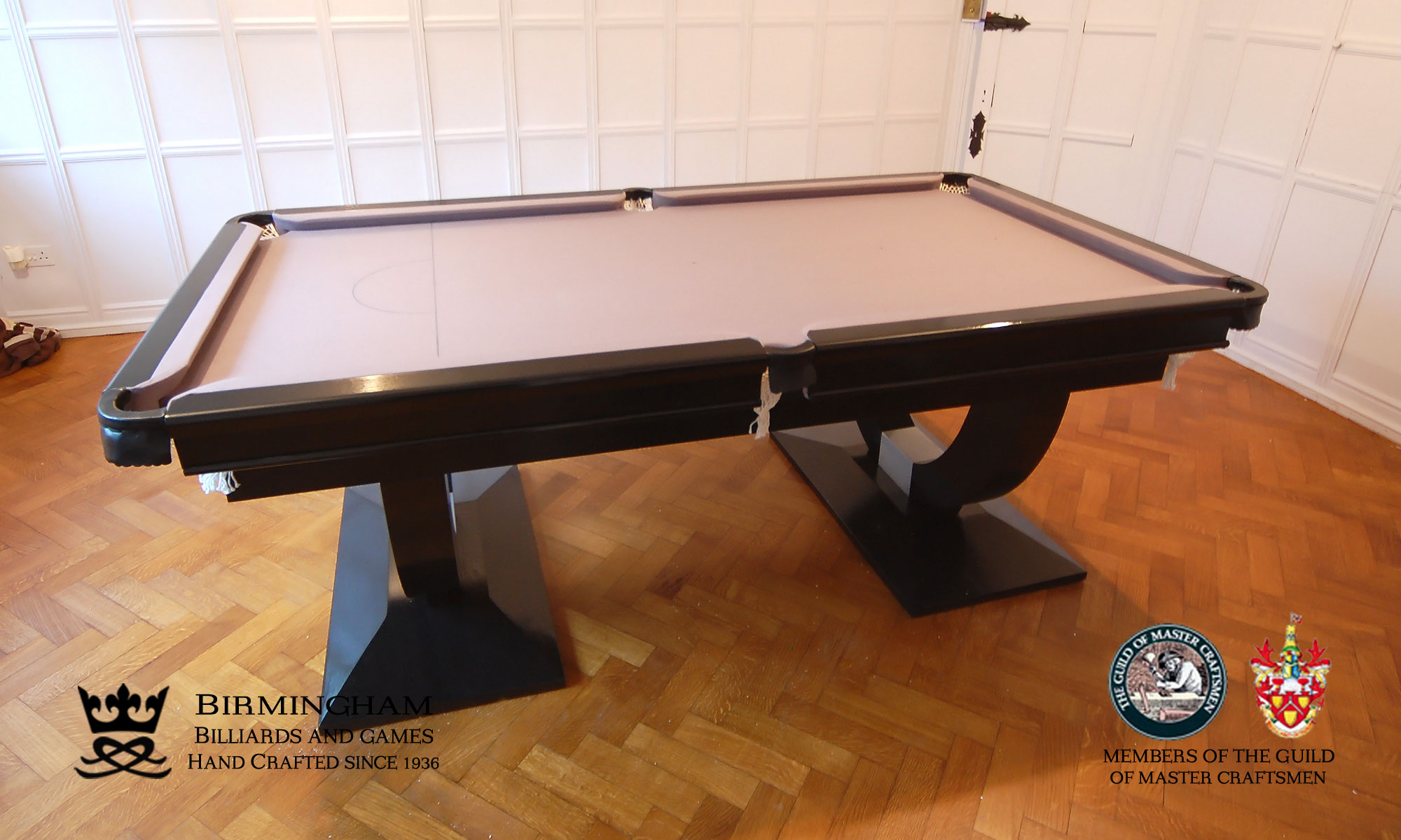 The Mayfair-Art Deco, Handmade pool table, black gloss finish, silver baize