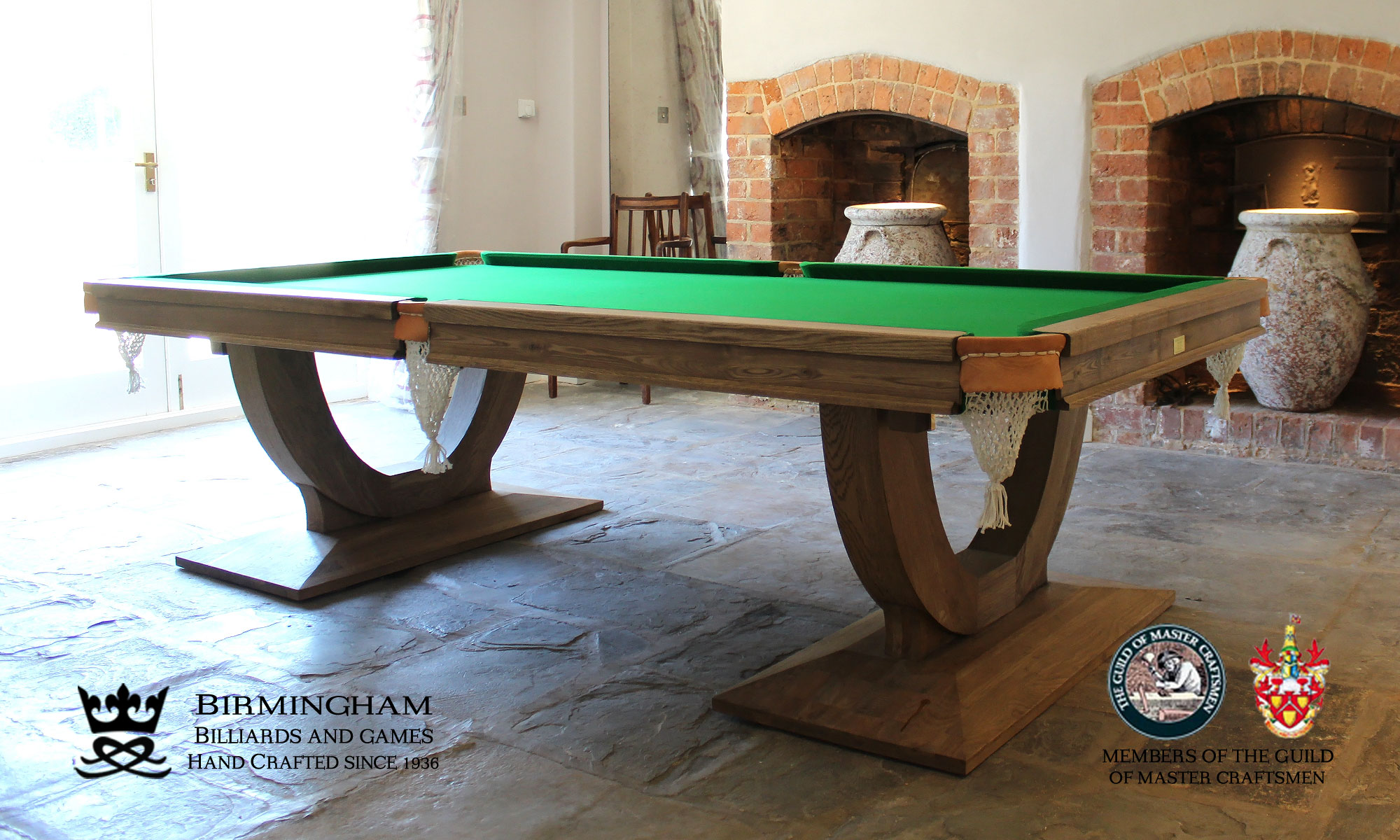 The Mayfair-Art Deco, Handmade pool table, honey finish, green baize