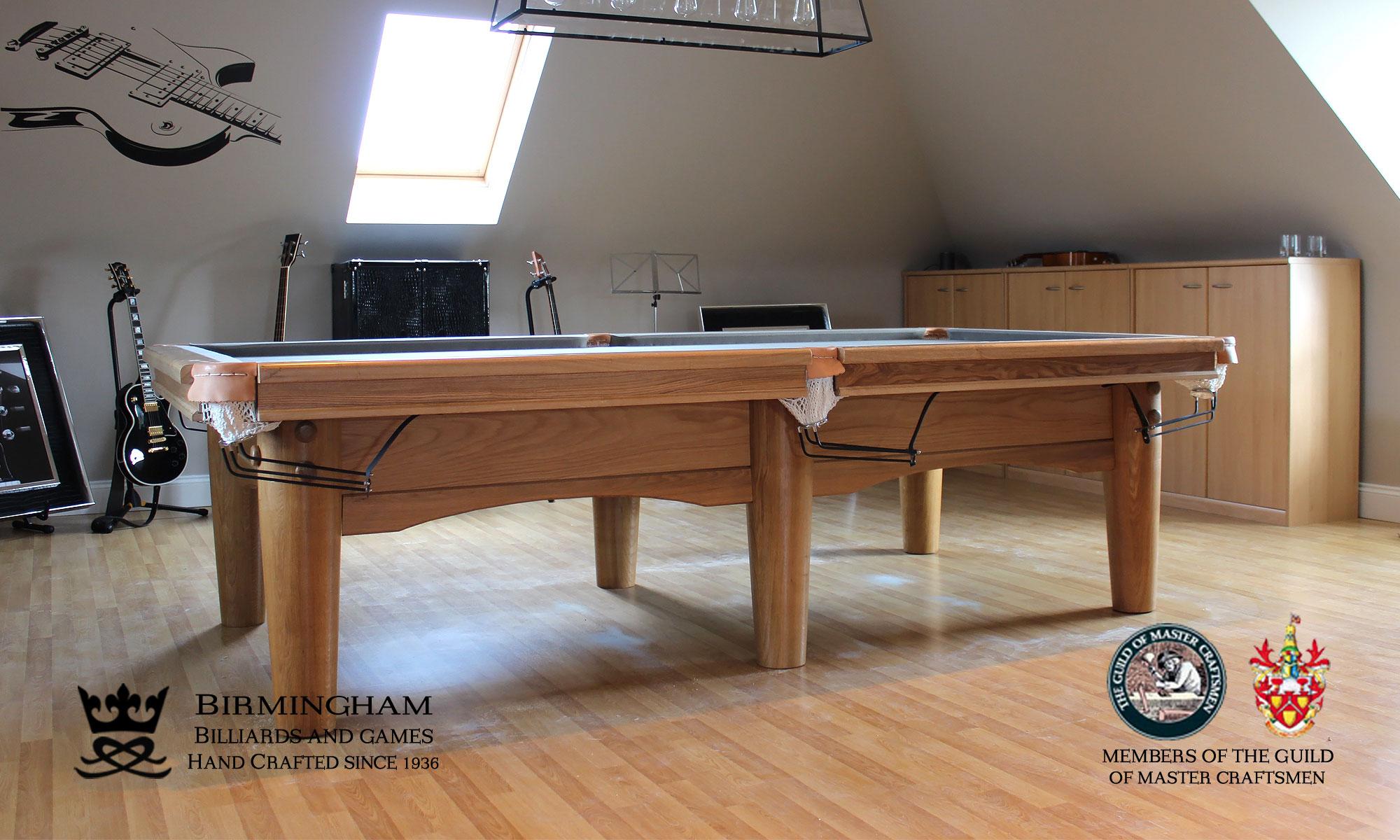 The Oval-Art deco, handmade pool table, light oak