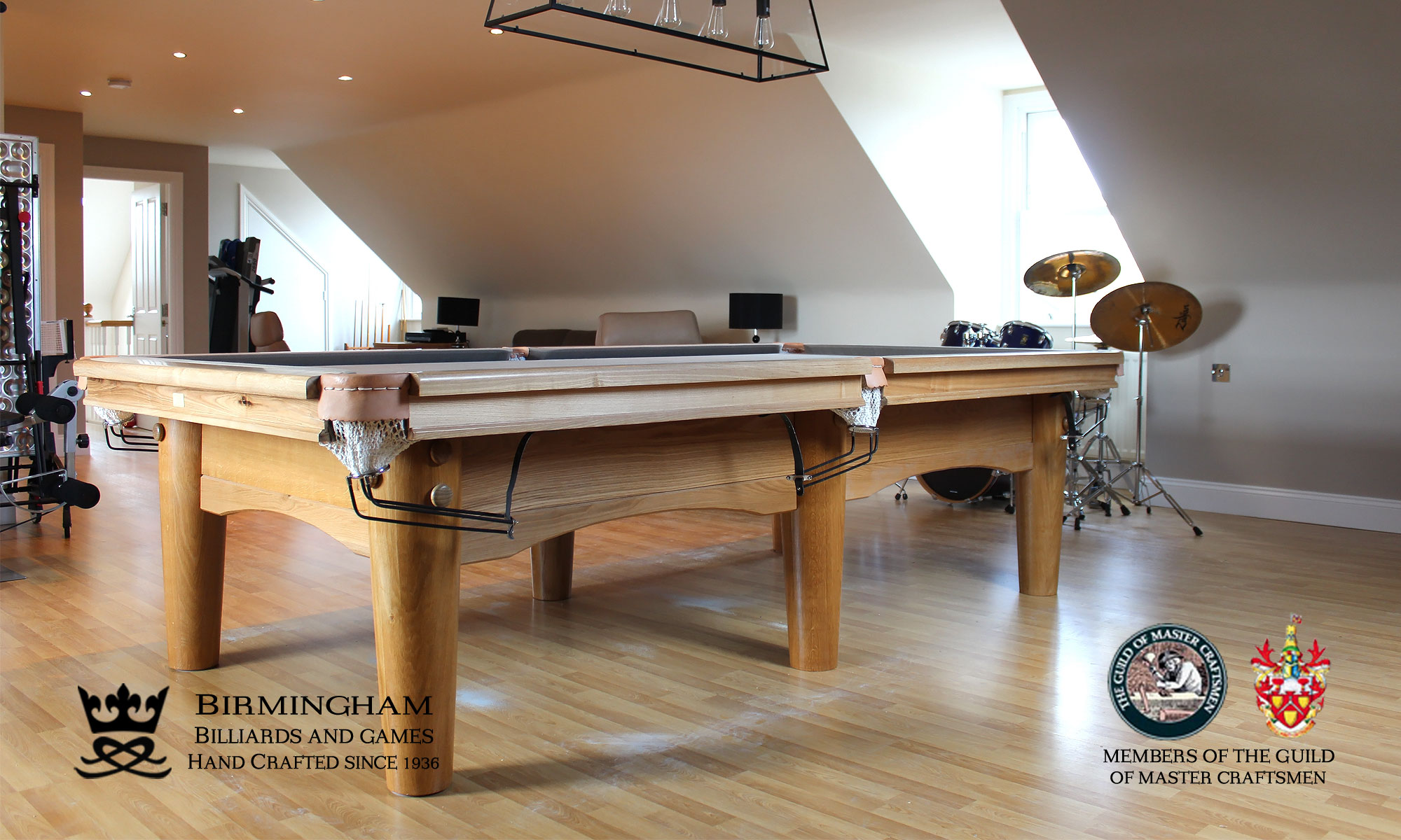 The Oval-Art deco, handmade pool table, side view