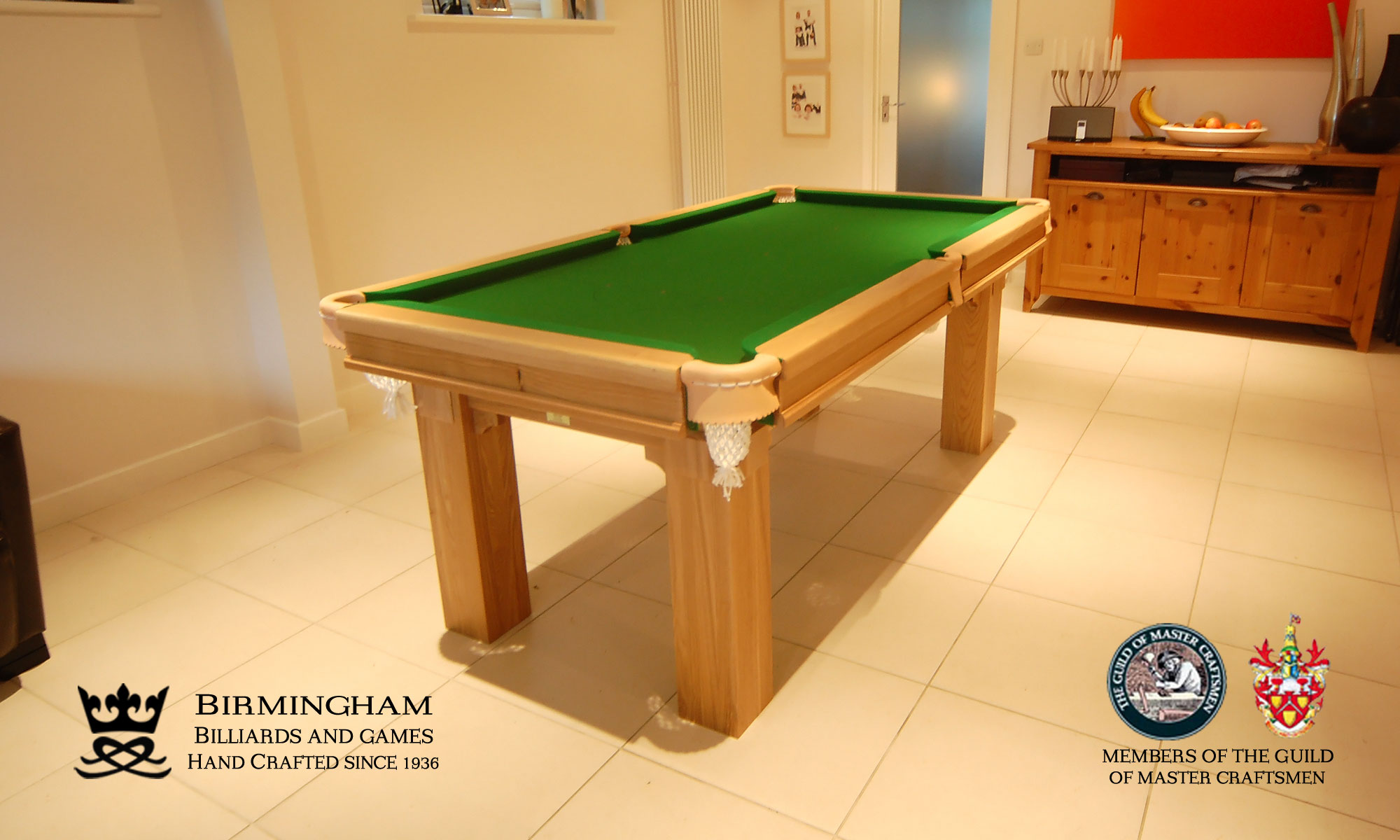 The Retro-luxury handmade pool table in light oak and olive green baize,made in solid oak