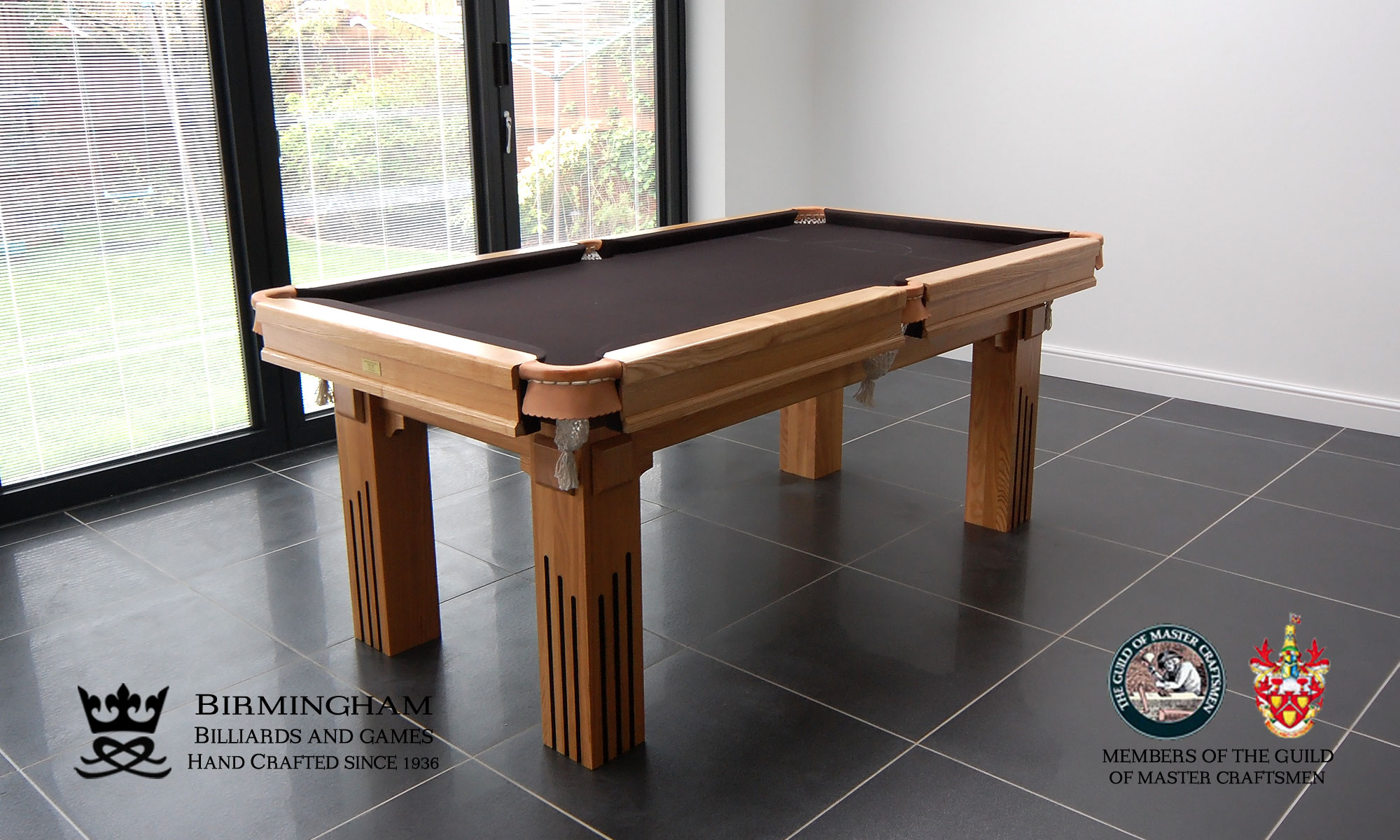 The Ritz-Art Deco,handmade pool table,natural oak,black baize