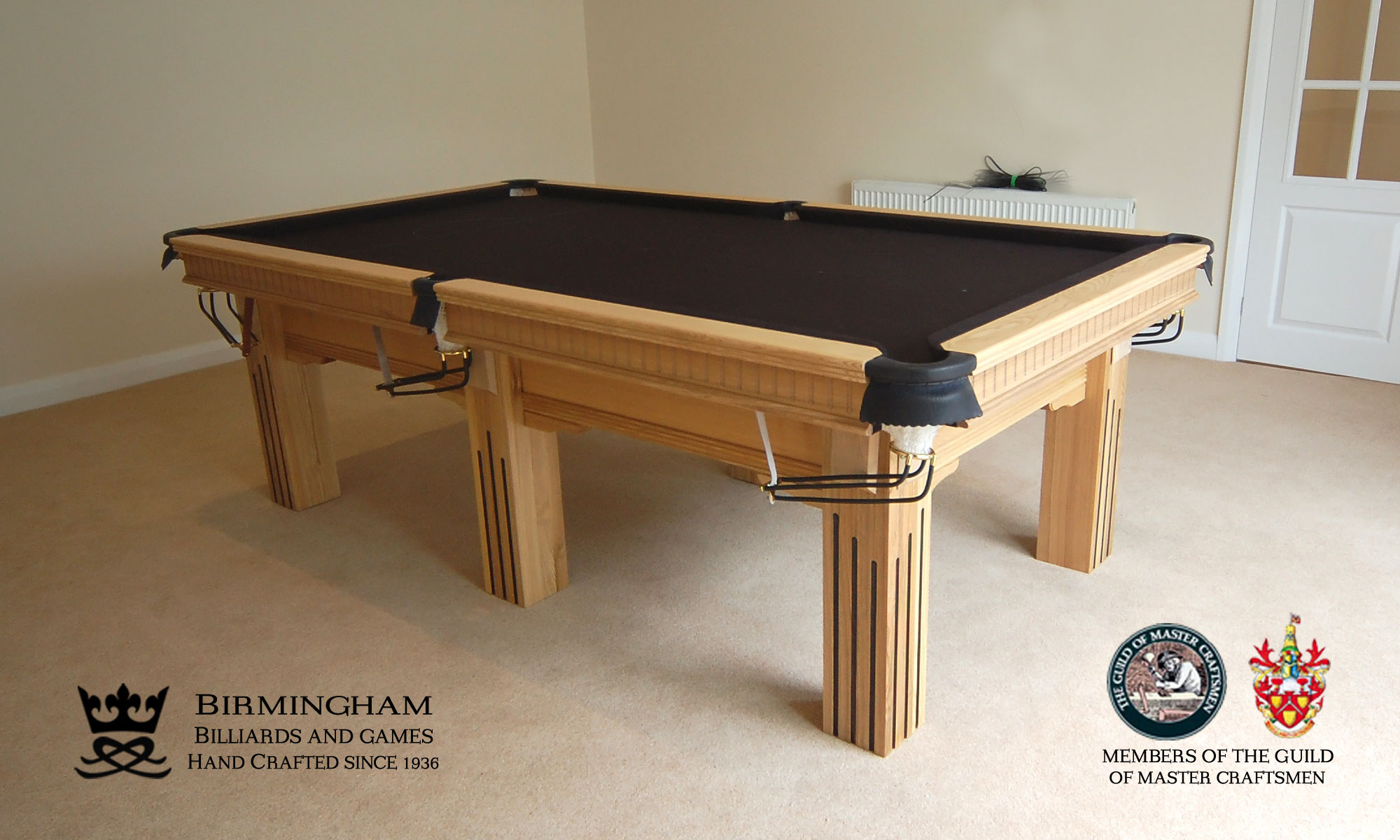 The Ritz-Art Deco,handmade pool table,six legs,natural oak,black baize