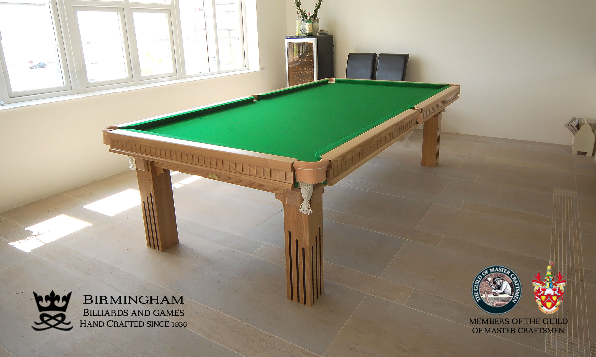 The Ritz-Art Deco,handmade pool table,six legs,natural oak,green baize