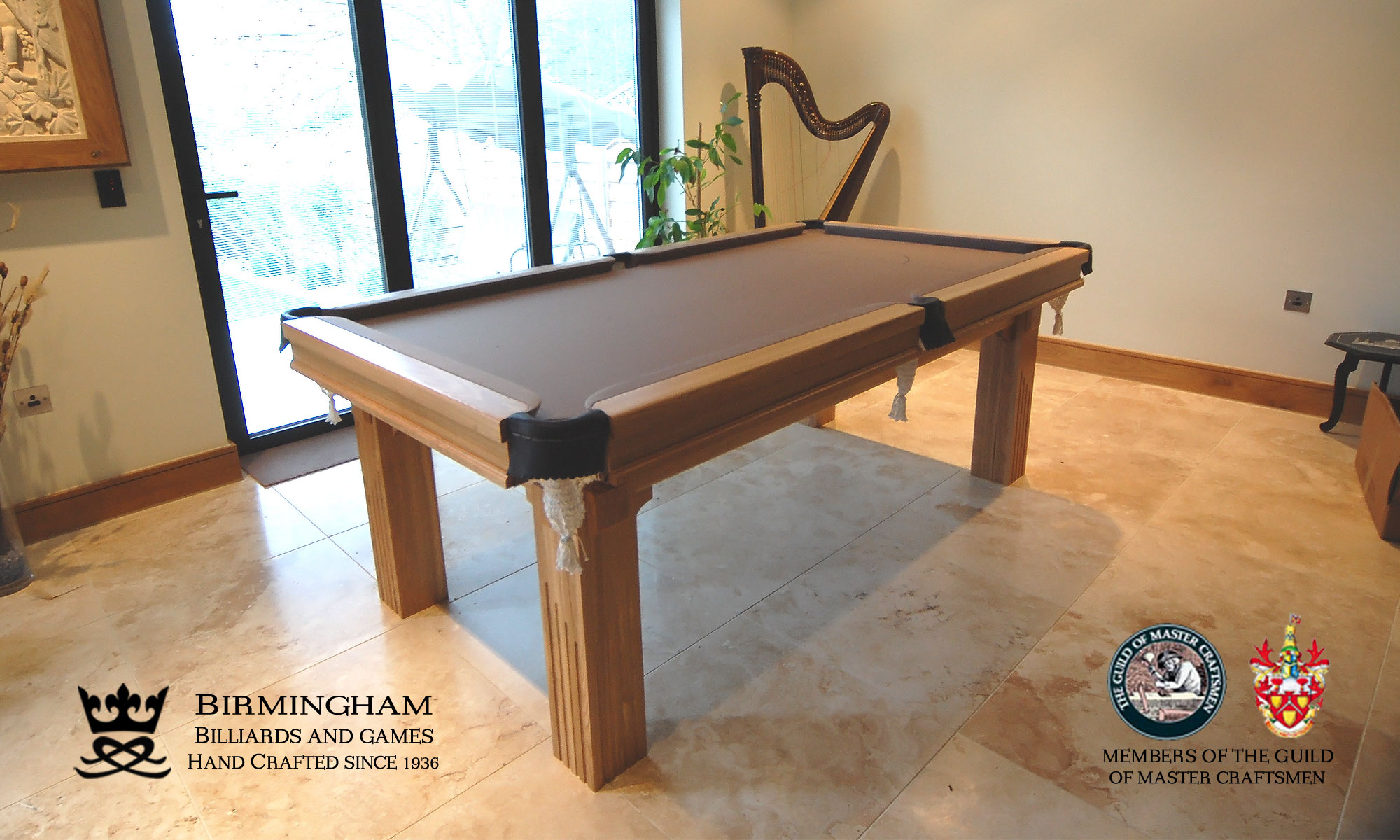 The Ritz-Art Deco,handmade pool table,six legs,natural oak,silver baize