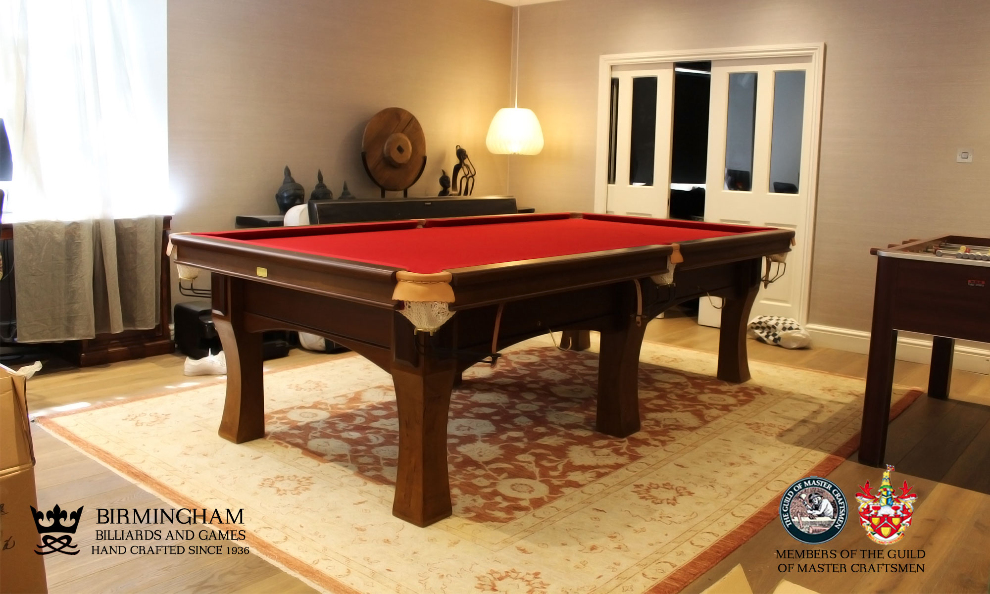 The Savoy contemporary pool table , walnut finish, cherry baize