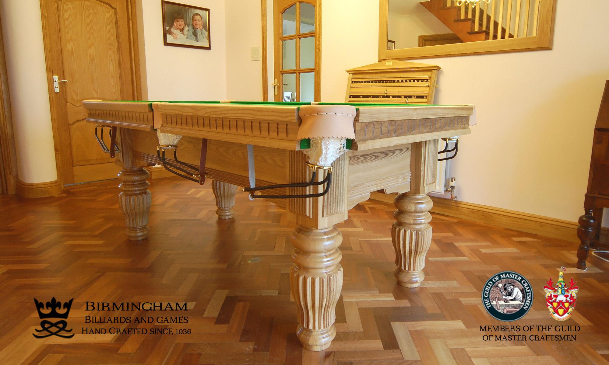 The Solar luxury pool table, light oak, side view