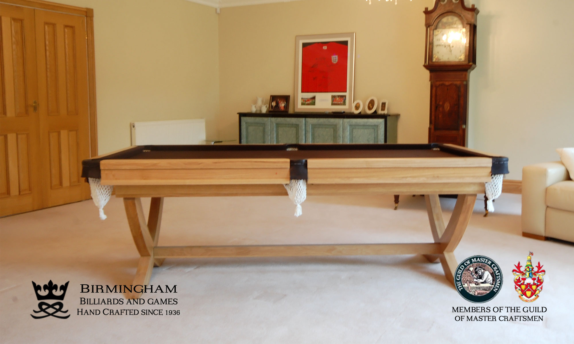 The X style-bespoke pool table,light oak, black baize