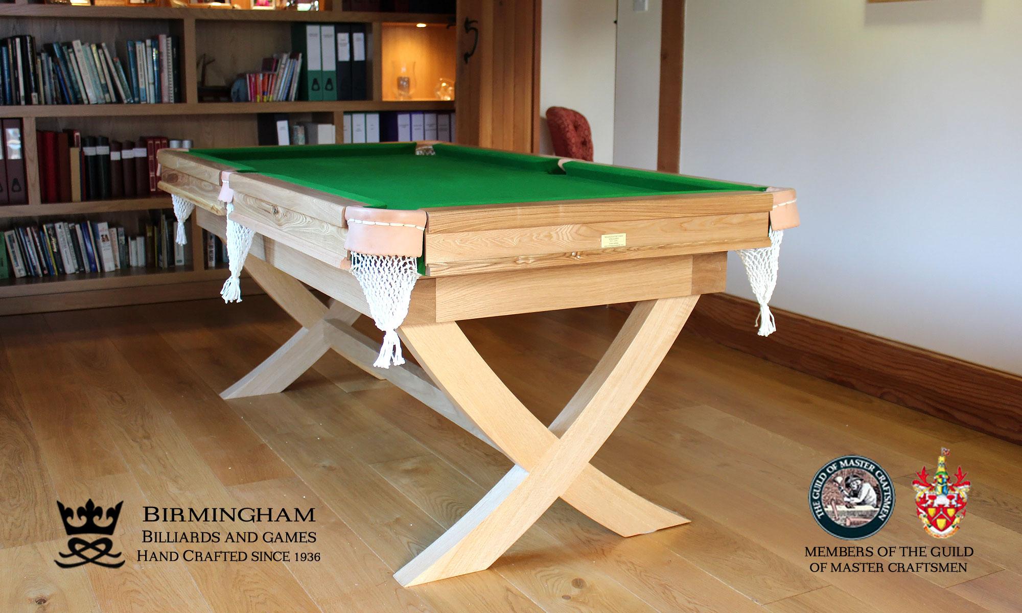 The X style-bespoke pool table,light oak, green baize