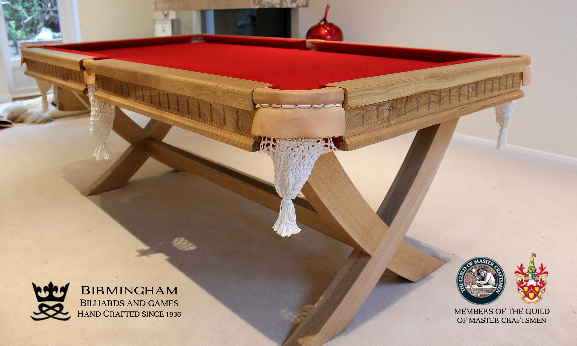 The X style-bespoke pool table,light oak, red baize