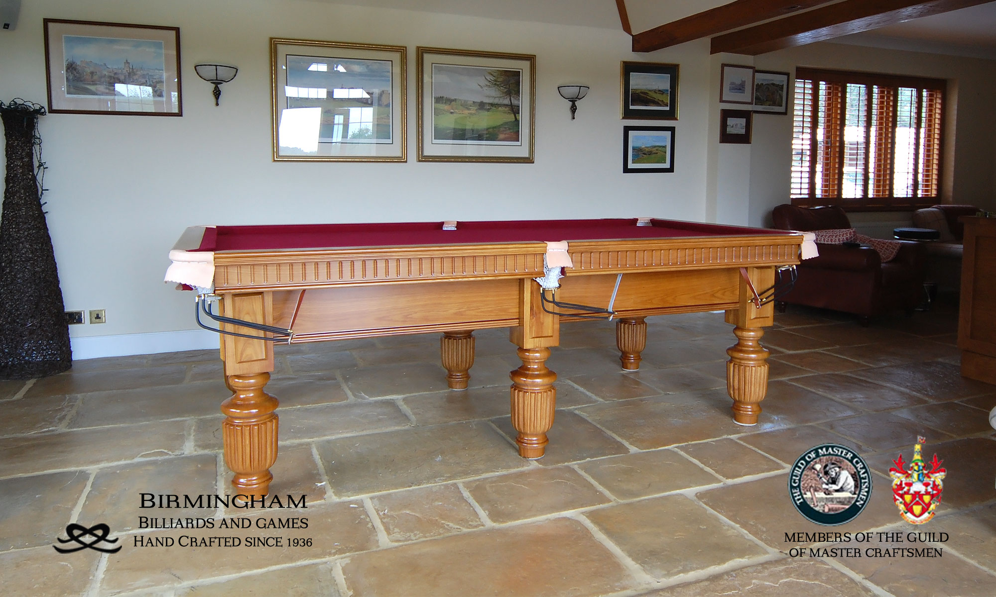 Timeless classic pool table, strachan style, honey oak finish