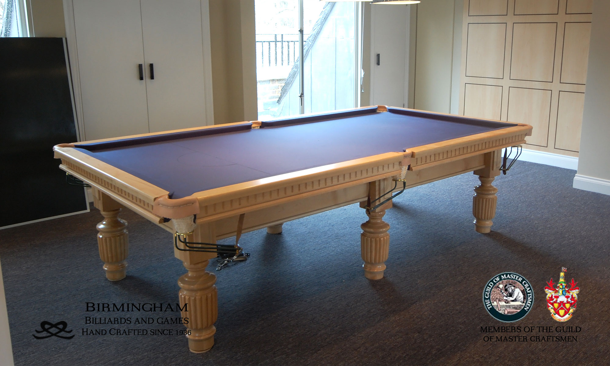 Timeless classic pool table, strachan style, light oak finish