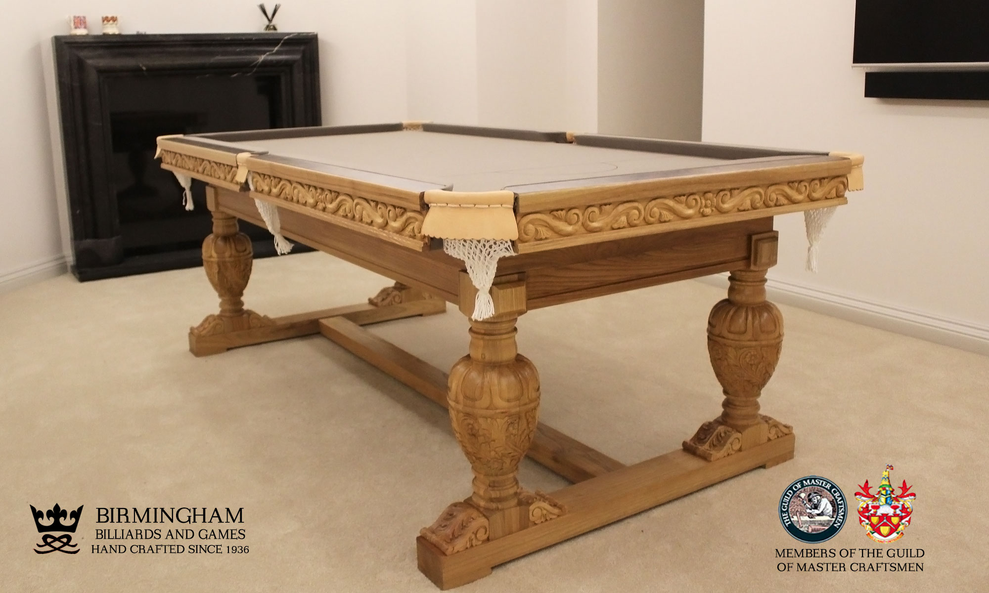 The Balmoral-hand carved pool table, taupe baize