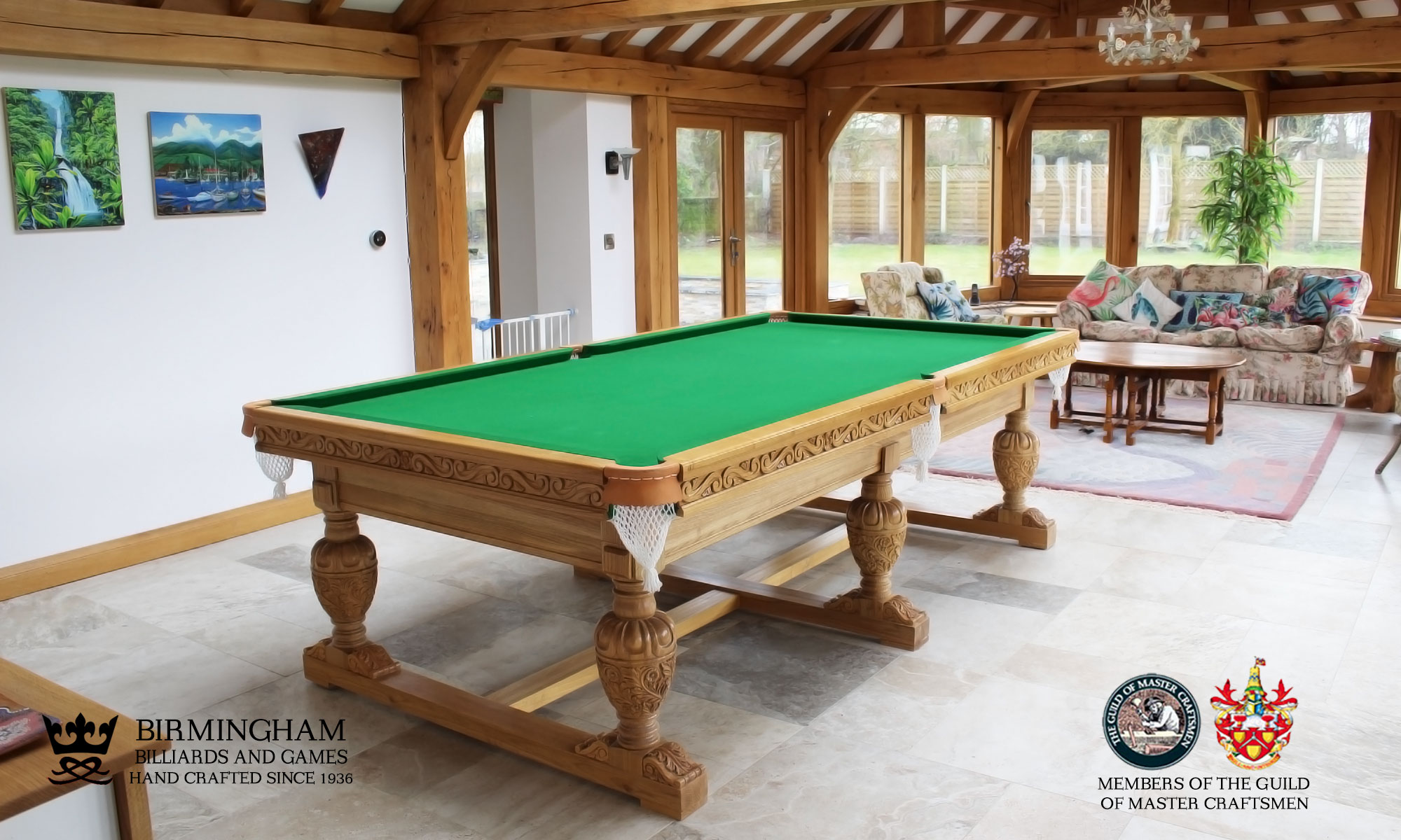 The Balmoral-hand carved pool table,6 legs, green baize