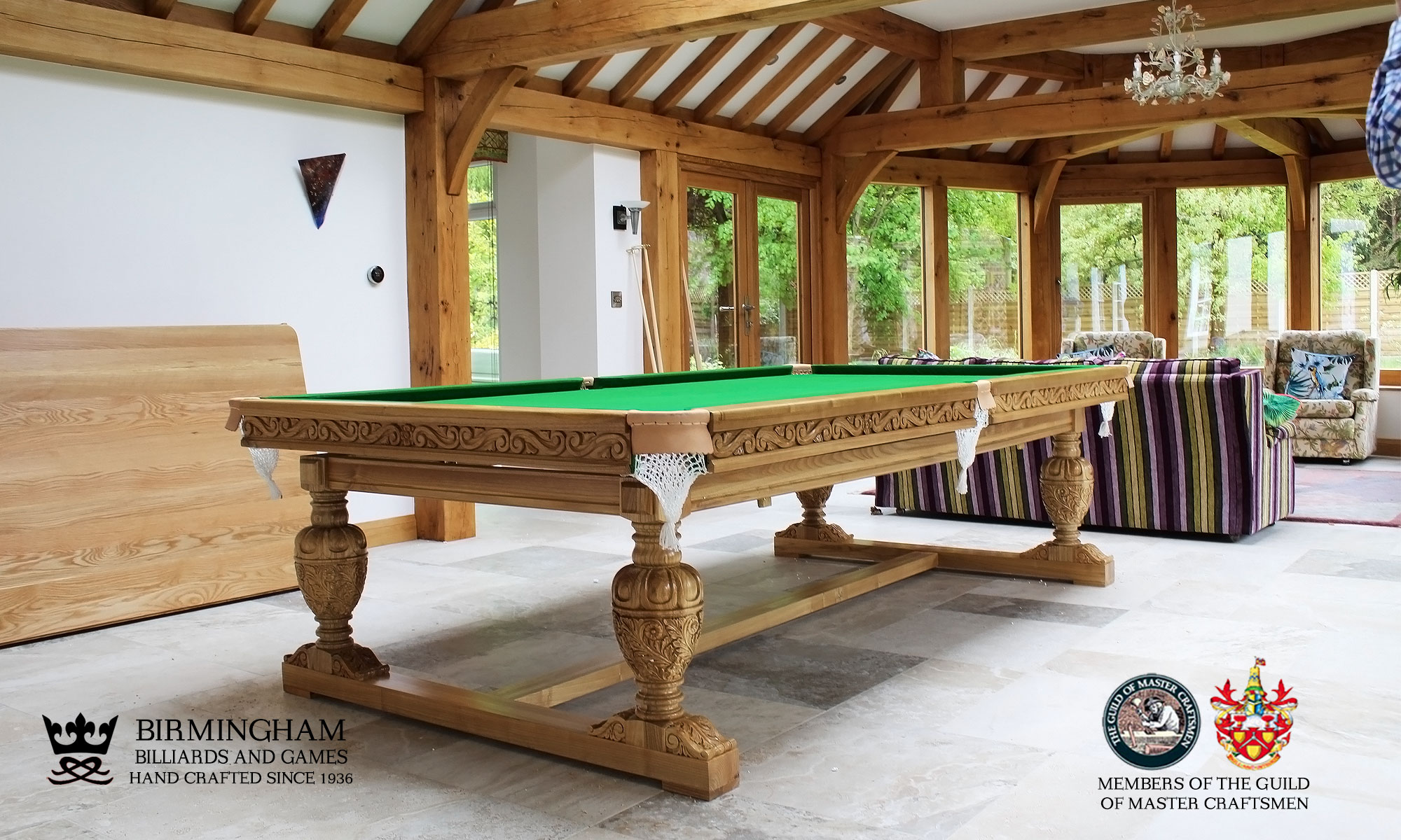 The Balmoral-hand carved pool table, championship green baize