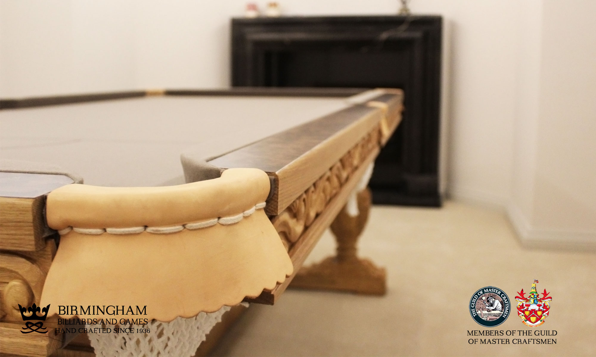The Balmoral-hand carved pool table, closeup