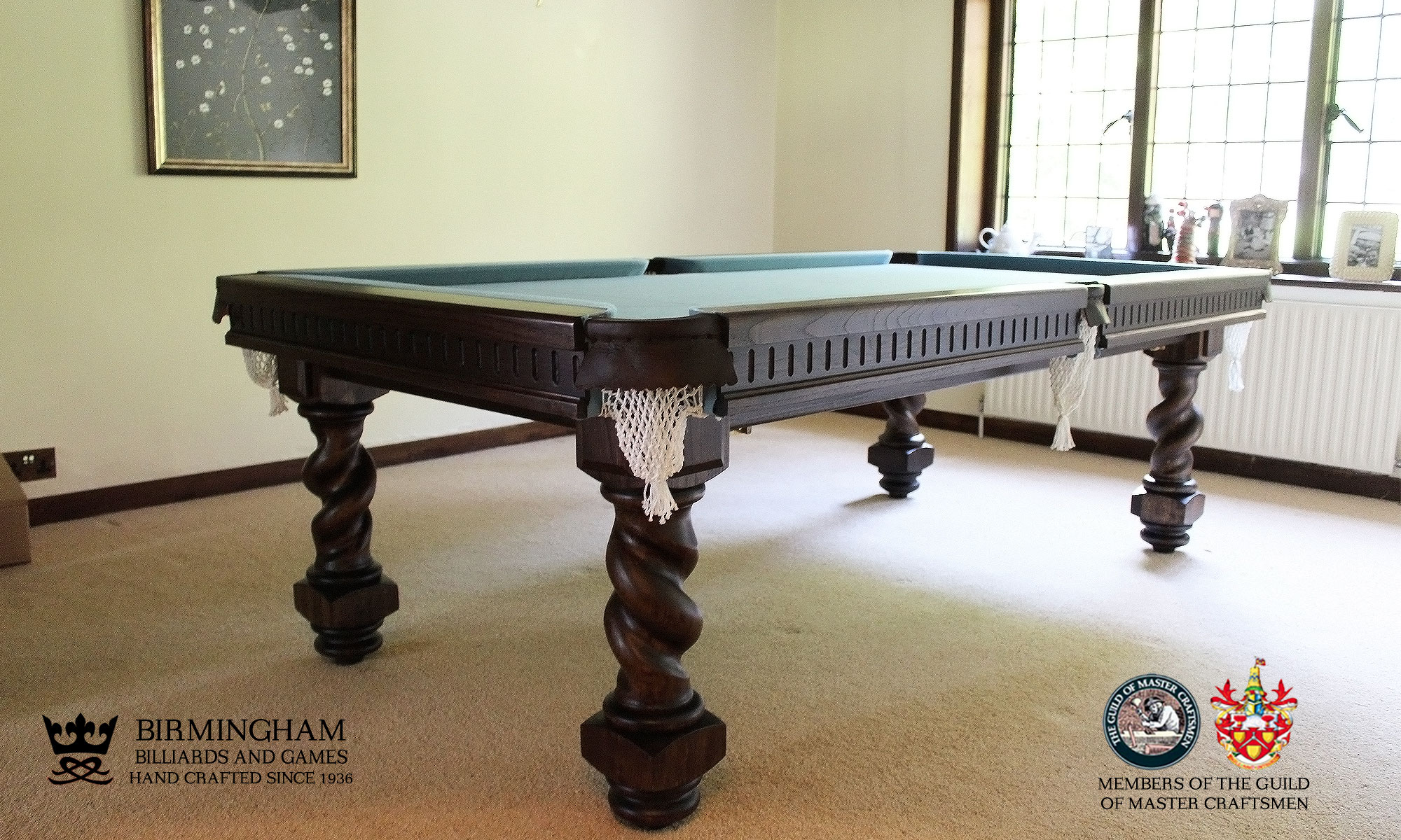 The Barley twist handmade pool table, dark oak finish with powder blue baize