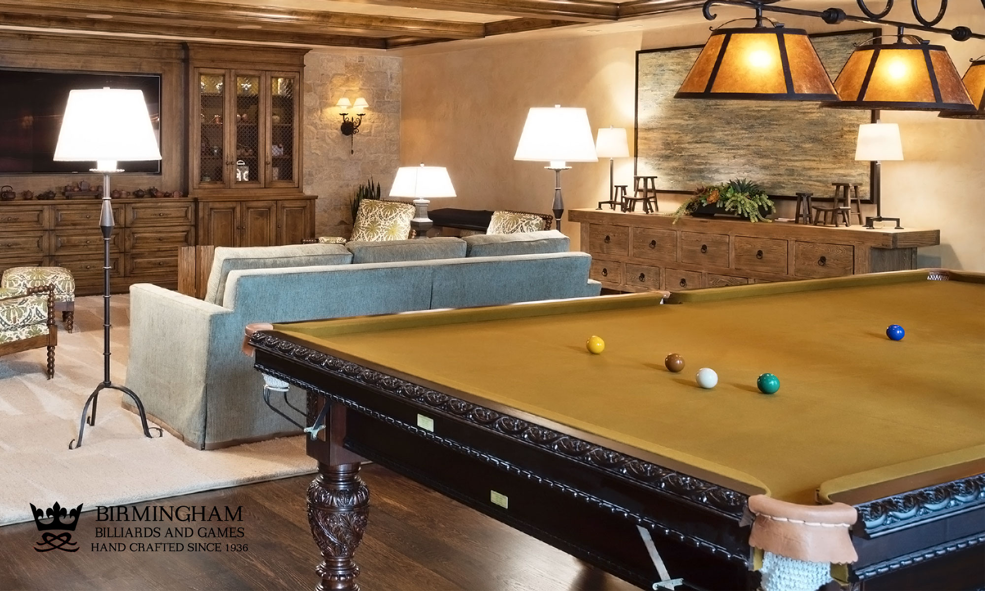 The Balmoral, hand carved snooker table