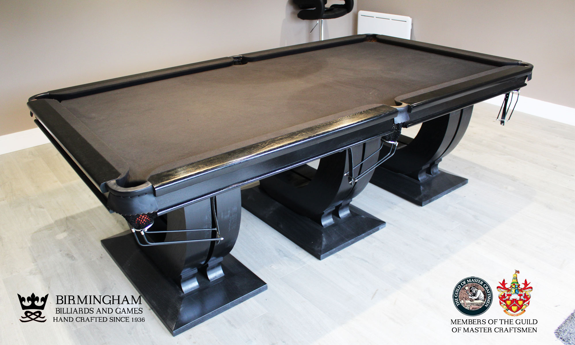 The Roma, art deco handmade pool table, black finish, black baize, sideview