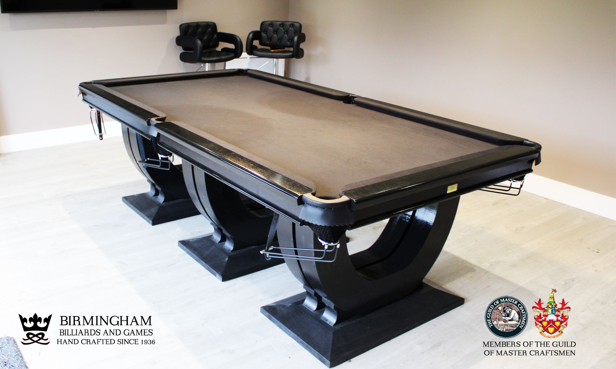 The Roma, art deco handmade pool table, black finish, black baize