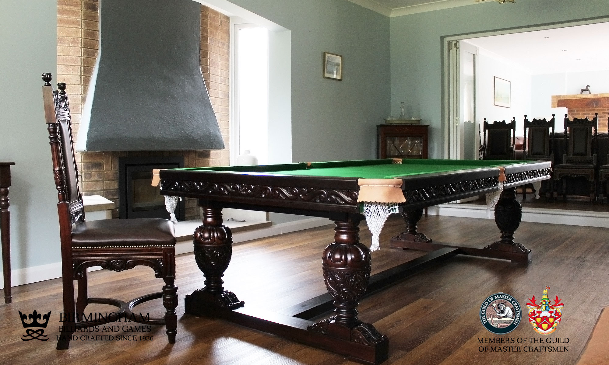 The Balmoral-hand carved pool table, championship green baize, end view