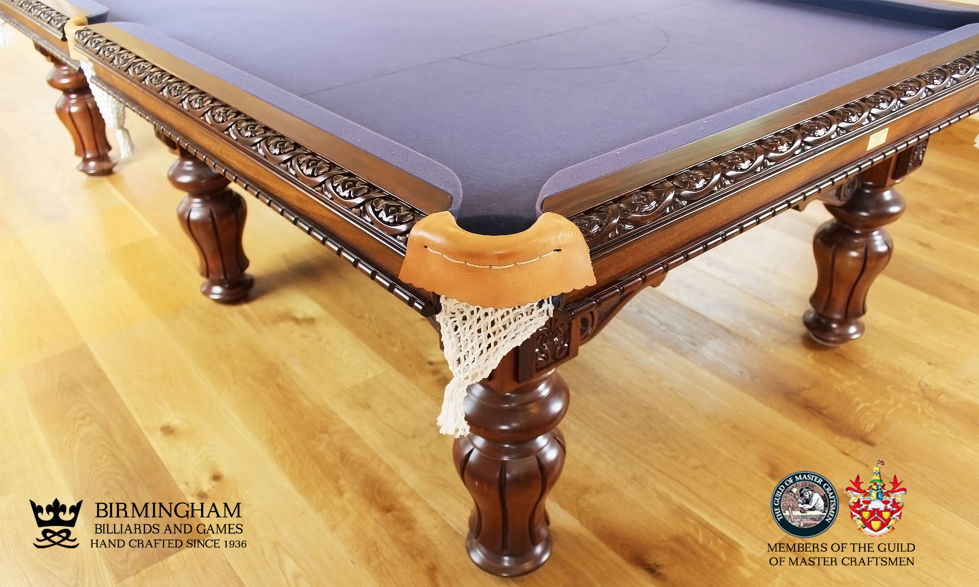 The Blenheim-hand carved pool table, corner view