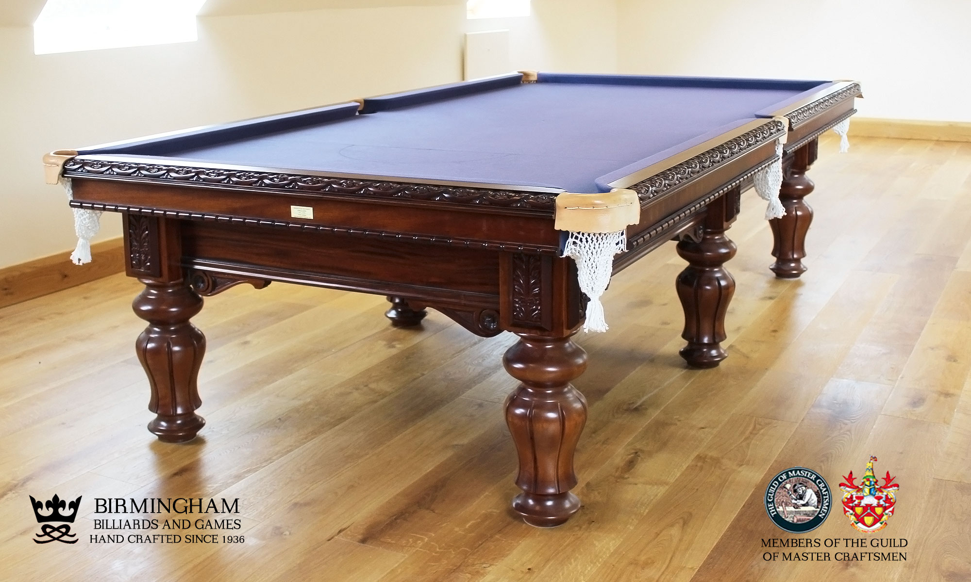 The Blenheim-hand carved pool table, slate blue baize
