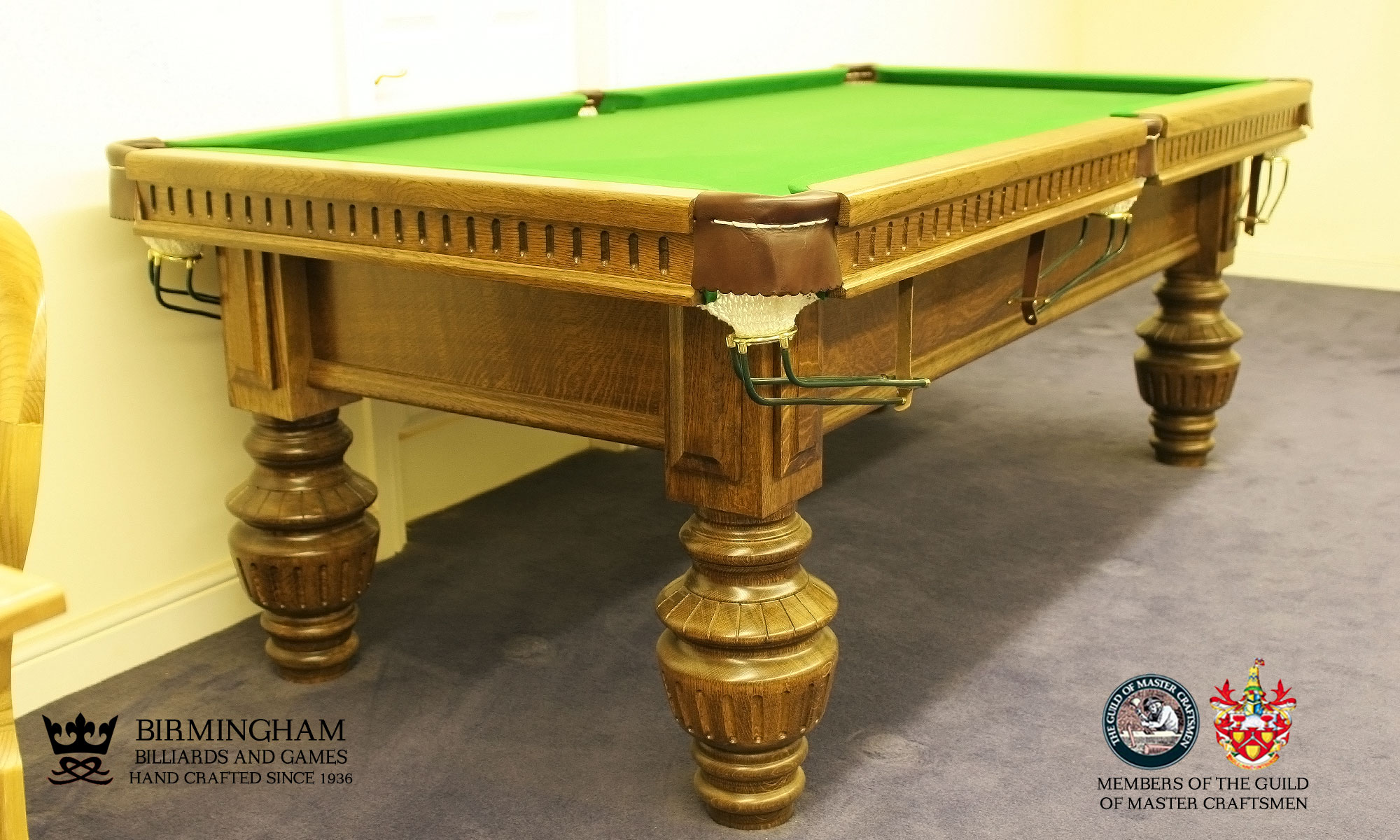 The Classic monarch handmade pool table, side view