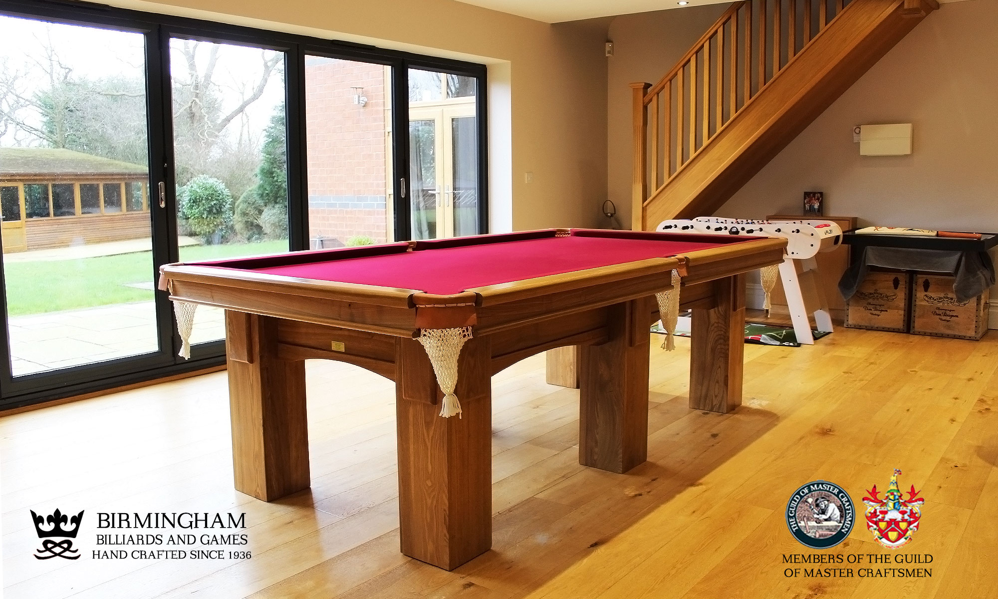 The Fender-Art Deco, handmade pool table,natural oak, red baize