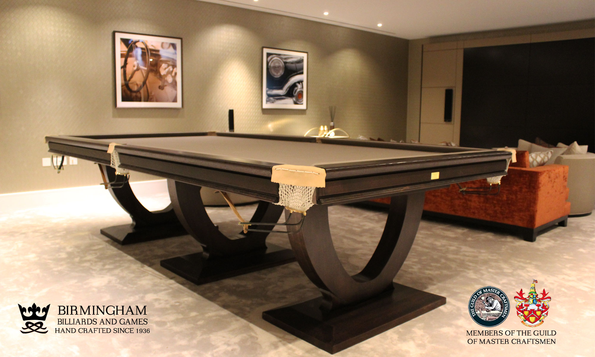 The Mayfair-Art Deco, Handmade pool table, black finish, taupe baize