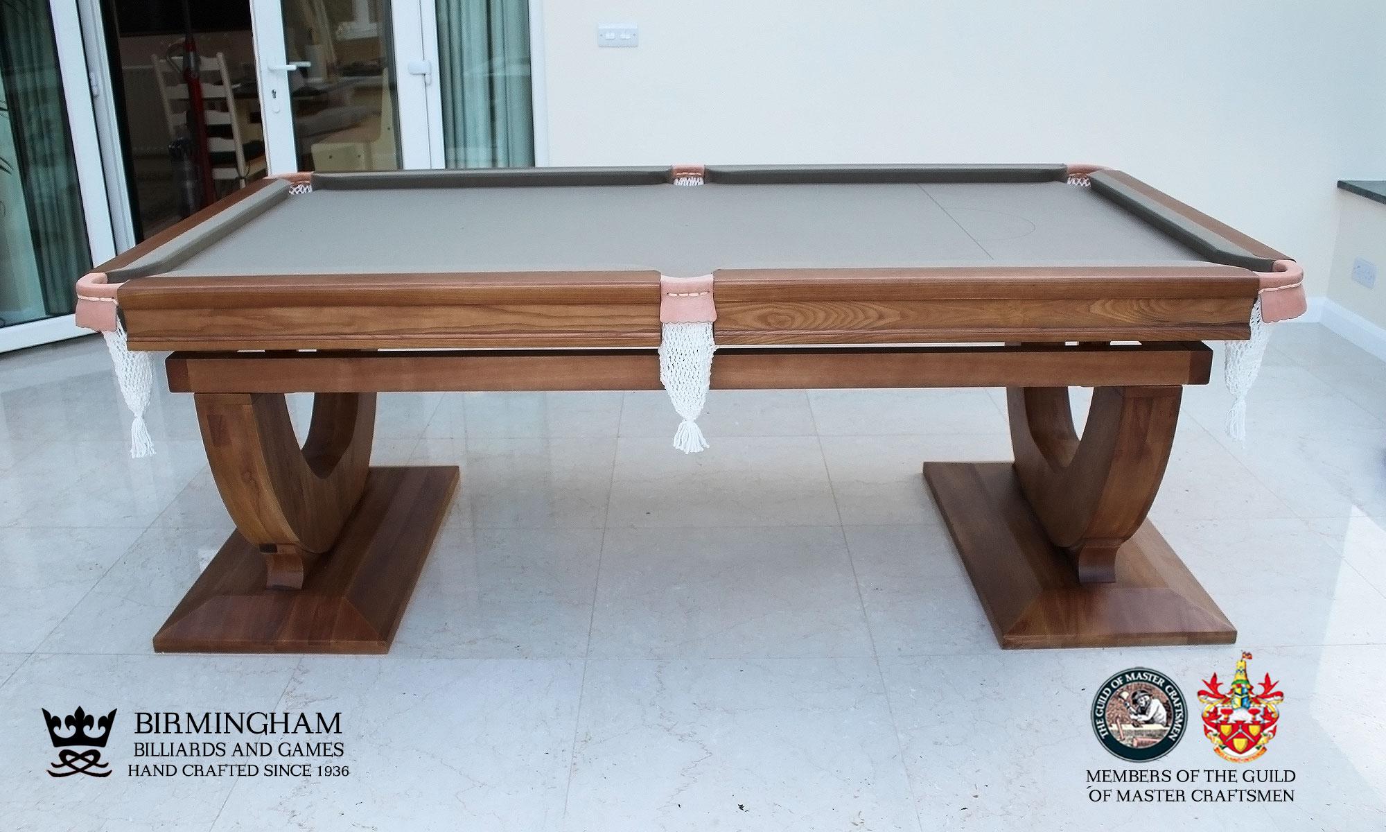 The Mayfair-Art Deco, Handmade pool table, walnut finish, sage baize, side view