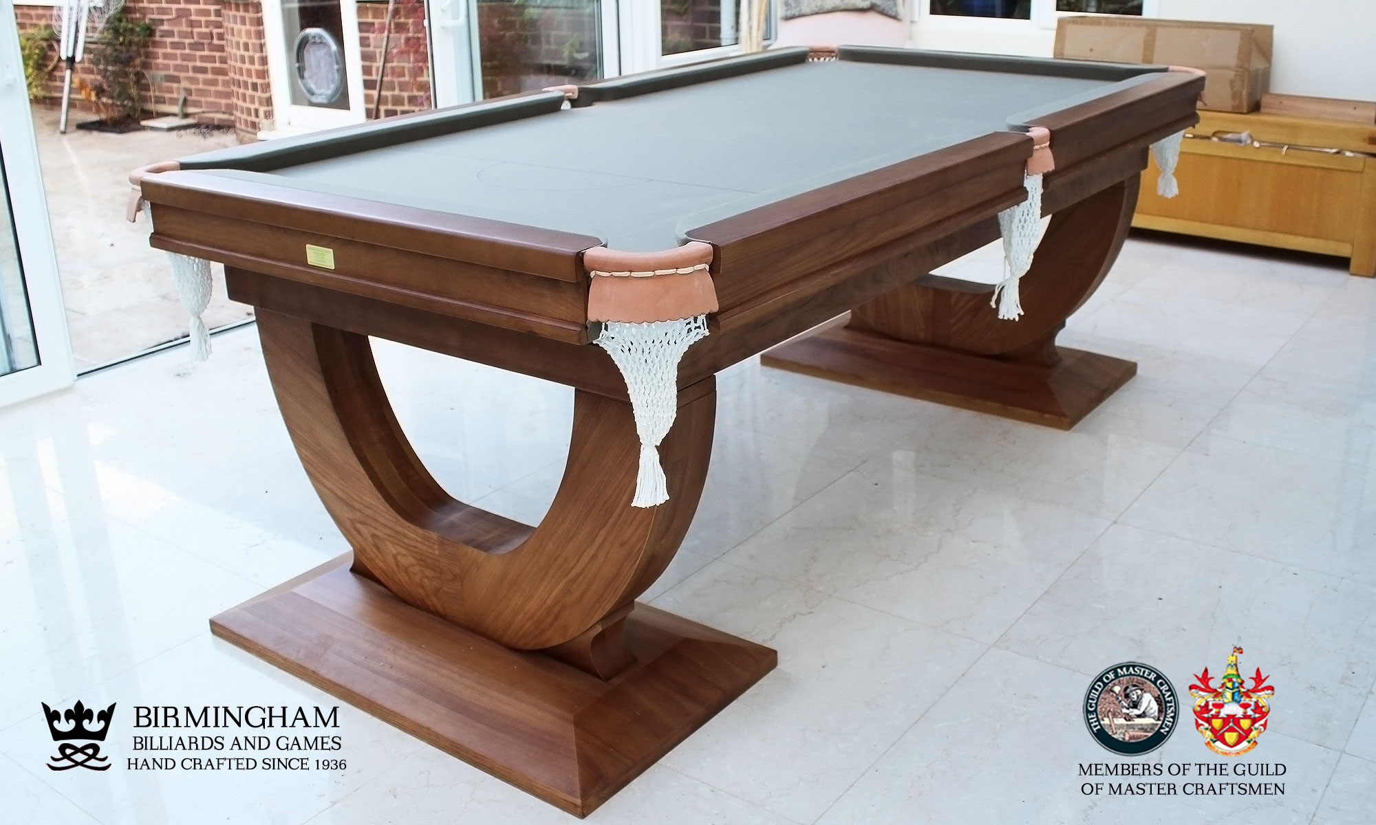 The Mayfair-Art Deco, Handmade pool table, walnut finish, sage baize