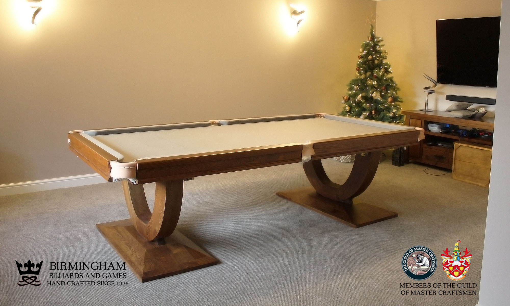 The Mayfair-Art Deco, Handmade pool table, walnut finish, taupe baize