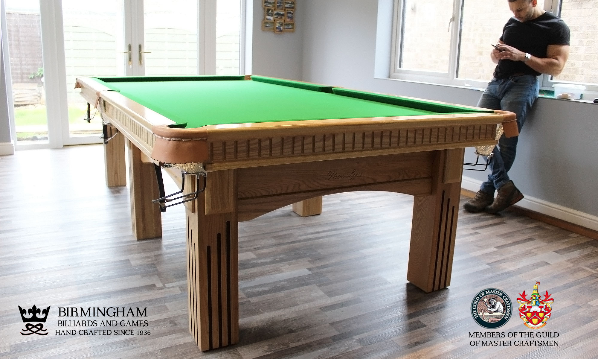 The Ritz-Art Deco,handmade pool table,six legs,natural oak,green baize,end view