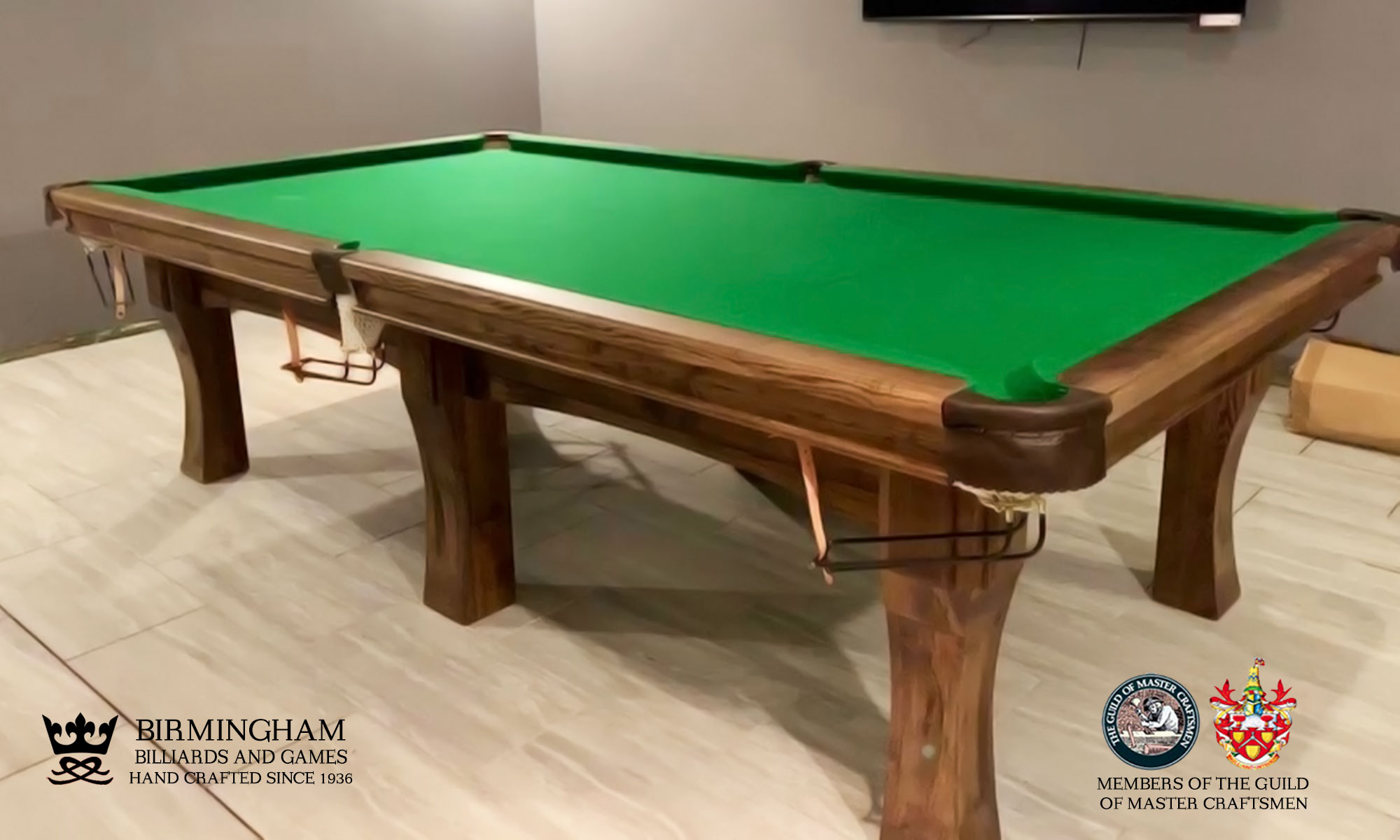 The Savoy contemporary pool table , walnut finish, olive green baize