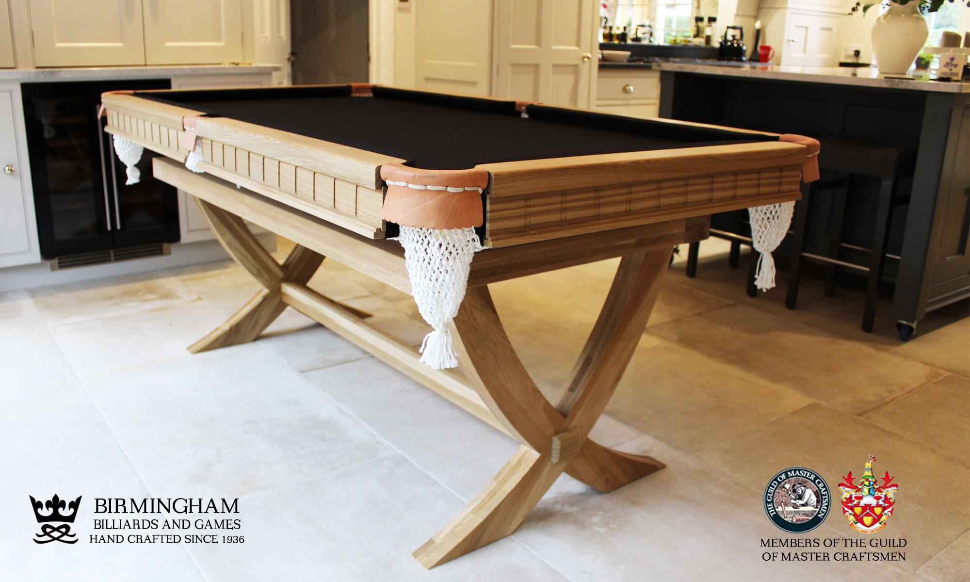 The X style-bespoke pool table,light oak, black baize, end view